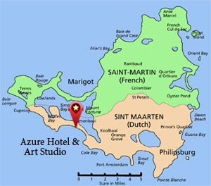 Location of Azure Hotel & Art Studio